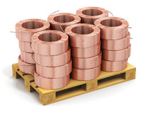 Stacked hunks of copper cable on shipping pallet Royalty Free Stock Image