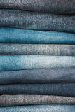 Stacked jeans closeup Stock Photography