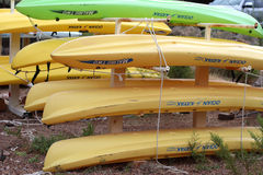 Stacked kayaks Stock Photography