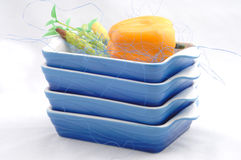 Stacked kitchen bowls Stock Photos