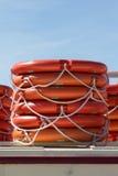 Stacked lifebelts Stock Photo