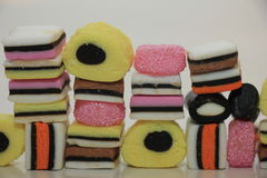 Stacked liquorice allsorts Royalty Free Stock Image
