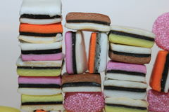 Stacked liquorice allsorts Royalty Free Stock Images