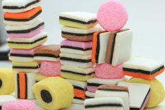 Stacked liquorice allsorts Stock Photography