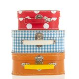 Stacked little suitcases Royalty Free Stock Photography
