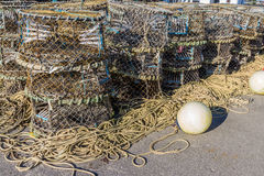 Stacked lobster nets stock photos