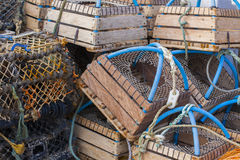 Stacked lobster pots close up Royalty Free Stock Images