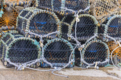 Stacked lobster pots close up Royalty Free Stock Image