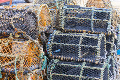 Stacked lobster pots close up Royalty Free Stock Photos