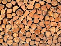 Stacked Logs. As a wood-stack background Royalty Free Stock Image