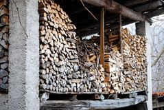 Stacked logs in the attic Stock Images