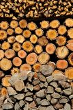 Stacked logs Background Royalty Free Stock Photo