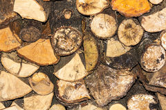 Stacked Logs. That could be useful for a background image Stock Photos