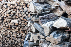 Stacked logs of olive tree. Wood for fireplaces, athens, greece Royalty Free Stock Photography