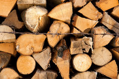 Stacked Logs - Renewable resource Royalty Free Stock Photos