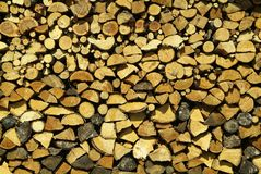 Stacked lumber. Firewood ready for the rigors of winter Royalty Free Stock Photos