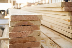 Stacked Lumber at a Building Site Stock Photo