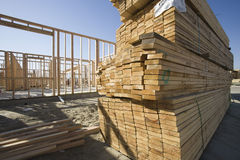Stacked Lumber At Construction Site Royalty Free Stock Images