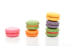 Stacked macaroons. Decadent colourful French macaroons stacked on a white background Royalty Free Stock Photo