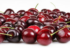 Stacked macro cherry background. Fun stacked macro photos of cherries to increase depth of field and create great food background Royalty Free Stock Photos