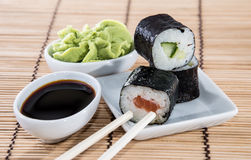 Stacked Maki Rolls on a plate Stock Image