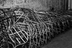 Stacked Metal Chairs Stock Images