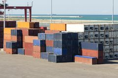 Stacked metal containers. Infrastructure logistic: Stacked metal containers Stock Images