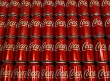 Stacked 375ml Coca-Cola Cans. Adelaide, South Australia, Australia - October 28, 2017: Iconic soft drink known around the world as Coke. Coca-Cola 375ml cans Stock Photography