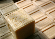 Stacked natural organic soap bars, made with oil Royalty Free Stock Photography