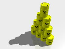 Stacked nuclear waste barrels Stock Photos