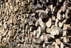 Stacked oak firewood closeup. Stacked oak firewood in countryside as background Royalty Free Stock Images