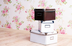 Stacked office storage boxes Stock Photography