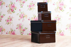Stacked office storage boxes Royalty Free Stock Images