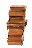 Stacked old books of different shape and color Royalty Free Stock Image