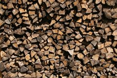 Stacked old firewood Stock Images