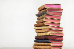 Stacked Old Leather Books Stock Images