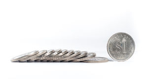 Stacked of Old Malaysia Coins on white background Stock Photo
