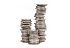 Stacked old silver coins Royalty Free Stock Image