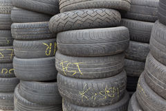 Stacked old tires Stock Photos