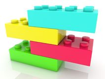 Stacked on by one four toy bricks in different colors.3d illustration Stock Photos