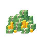 Stacked packs of dollar bills and gold coins. Huge money pile. Stacked packs of dollar bills and gold coins. Minimal style flat vector illustration icon Royalty Free Stock Photography