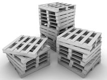 Stacked pallets. Ready for delivery. 3d Illustration Royalty Free Stock Photography