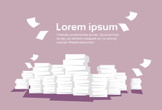 Stacked Paper Pile Of Documents Banner With Copy Space. Flat Vector Illustration Royalty Free Stock Image