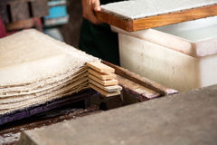 Stacked Paper Sheets Drying In Factory Stock Image