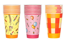 Stacked Party Cups. Stacked paper cups with different party theme. Isolated on white Royalty Free Stock Photos