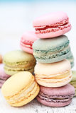 Stacked Pastel Colored Macarons Stock Image
