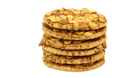 Stacked peanut cookies Royalty Free Stock Images