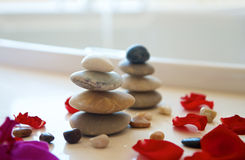 Stacked Pebbles in bathroom Royalty Free Stock Image