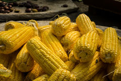 Stacked Peeled corn on sale in traditional market photo taken in Bogor Indonesia Royalty Free Stock Photo