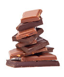 Stacked pieces of dark and milk chocolate Stock Photo